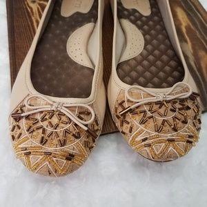 Born~Leather Tan Beaded Flats Size 9